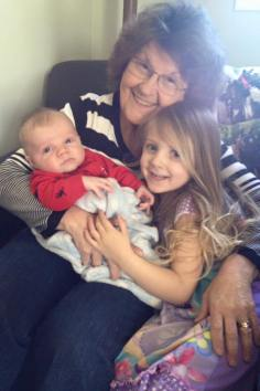 My Mom with My Great Neice & New Great Nephew