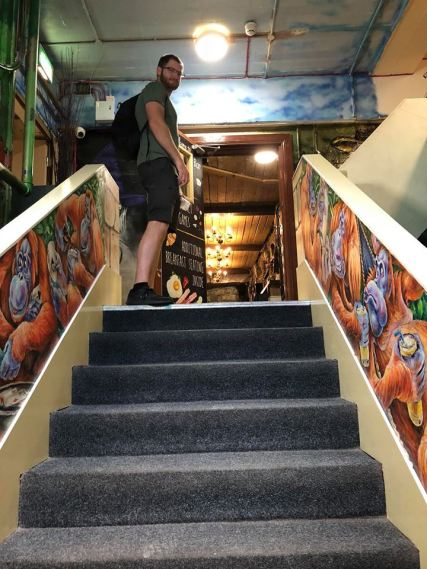 Weird layout in the hostel, lost of random staircases