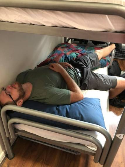 Jared's too big for bunkbeds!