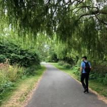 Walking through a local park near Portobello