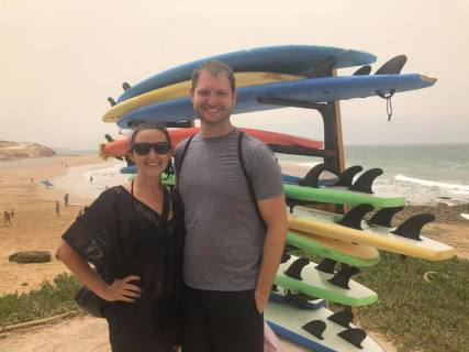 Jared and I after surfing lessons!