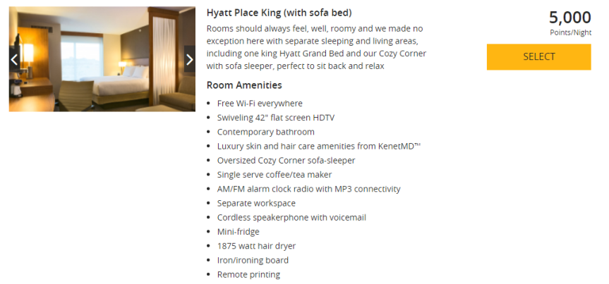 hyatt hotel points per night