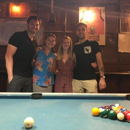 Friends playing pool!
